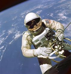 "June 3, 1965: Astronaut Edward H. White II became the first American to perform a ""spacewalk."" White did so during the four-day Gemini IV mission. Gemini IV was the second of ten manned Gemini missions, which perfected the techniques of spacecraft rendezvous and docking, and demonstrated that astronauts could withstand prolonged weightlessness for the planned Apollo missions to the Moon. #Spacewalk50"