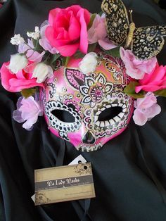 Pink Day of the Dead Halloween Masquerade Mask by MaLadyMasks
