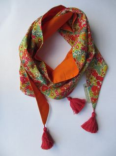 Foulard liberty Margaret Annie & orange Annie, Couture Accessories, Kurti, Liberty, Shawl, Etsy, Orange, Sewing Ideas, Crochet