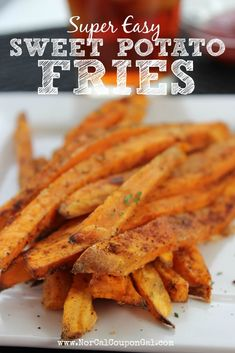 These Super Easy Sweet Potato Fries are the perfect side dish to just about every meal you could imagine. We like 'em best with burgers, but they're a delight to enjoy with chicken, pork, and more. Easy Sweet Potato Fries, Fries Recipe, Fried Potatoes, Vegetable Dishes, Burgers, Vegan Vegetarian, Super Easy, Side Dishes, Coupon