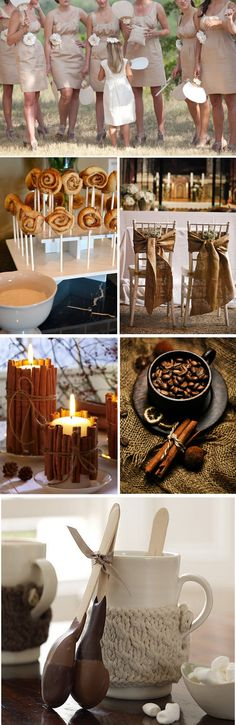 Cinnamon & Tan Wedding Colors   First Row: Jenny DeMarco Photography   Second Row: Divine Distractions   Pinterest  Third & Fourth Row: Pinterest