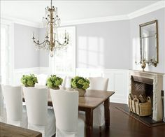Look at the paint color combination I created with Benjamin Moore. Via @benjamin_moore. Wall: Graytint 1611; Trim & Wainscot: Distant Gray 2124-70; Ceiling: Distant Gray 2124-70.