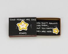 "Cute Friendship Card Matchbox / Gift Box / ""Good Friends are like Stars"" / - Diy Gifts Ideas Good Friends Are Like Stars, Matchbox Crafts, Matchbox Art, Cute Diys, Cute Crafts, Love Cards, Diy Cards, Diy Birthday, Birthday Cards"