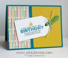 See Ya Later Birthday Card with Angled Tag Topper Punch #stampinup #saleabration #juliedavison