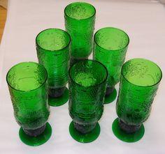 Oiva Toikka Vintage Dark Green Fauna Beer Glasses (6) Nuutajarvi Finland Iittala