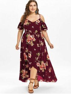 2e604dedd44 Plus Size Hawaiian Cold Shoulder Maxi Dress - RED WINE - 2X Peplum Dresses