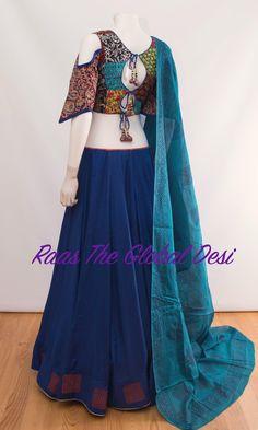 Silk Chania with designer brocade blouse and contrast dupatta Lehenga Gown, Lehenga Style, Lehenga Choli Online, Bridal Lehenga, Lengha Blouse Designs, Choli Designs, Saree Blouse, Pakistani Dresses, Indian Dresses