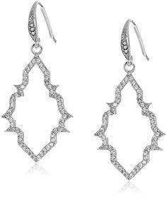 """Carolee """"Floral Lace"""" Silver Tone Open Frame Pierced Drop Earrings"""