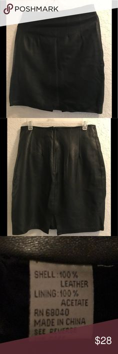 Black leather skirt This super soft leather skirt can be dressed up with boots and a lace camisole for a night of dancing or dressed down with a silk blouse and some cute wedges for a comfy day at work. The front and back are tailored at the waist line.  Waist 30. Hips 42 Length 20 ( thats to the knee on me) Skirts Mini