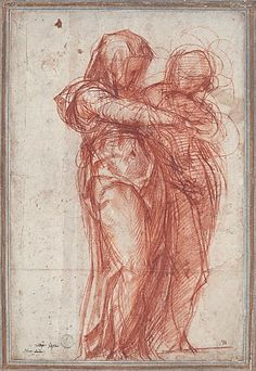 Pontormo (Jacopo Carucci) ~ Two Standing Women, c.1530s (light and dark red chalk)