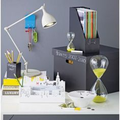 Great idea: Chalkboard paint on office boxes & organizers! Totally makes them reusable :)