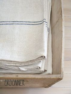 found these wonderful stripe textiles Textiles, Jute, Lino Natural, Kitchen Linens, Kitchen Towels, French Fabric, Grain Sack, Linens And Lace, Tea Towels