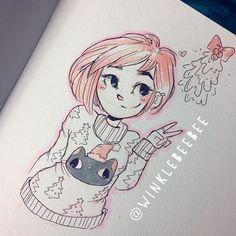 Character Design Illustration~ By Winklebeebee Cartoon Drawings, Cool Drawings, Cartoon Art, Drawing Sketches, Character Art, Character Design, Daily Drawing, Pretty Art, Illustrations