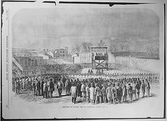 Execution of Captain Wirz at Washington, Friday, November Wirz, the Souther officer in charge of Andersonville prison, was the only southern officer executed for war crimes during the American Civil War. American Civil War, American History, Andersonville Prison, Gothic Revival Architecture, Civil War Photos, Antique Bottles, Us History, Interesting History, Old West
