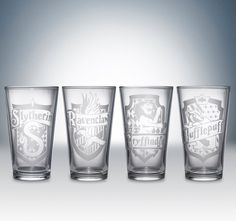 Harry Potter House Logos Pint Glass Set by Partywareinc on Etsy, $46.00