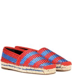 Balenciaga - Bazar espadrilles - Balenciaga shows a bold take on the summer loafer with this brightly coloured pair, crafted from faux raffia. The shoe features a square toe, a hand-sewn tone-on-tone thread frames the sole. Show yours off with distressed denim for avantgarde elegance. seen @ www.mytheresa.com