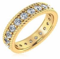 Kenley Twisted Rope Round Prong Set Cubic Zirconia Eternity Wedding Band in 14k yellow gold by Ziamond Cubic Zirconia Jewelers. #ziamond #cubiczirconia #eternity #band #ropestyle #wedding