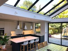 Selection for a modern and refined kitchen - HomeDBS Kitchen Lighting Design, Kitchen Lighting Fixtures, Kitchen Design, Open Plan Kitchen Dining Living, Open Plan Kitchen Diner, Luz Natural, House Extension Design, House Design, Kitchen Cabinet Doors Only