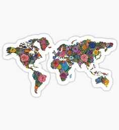 """""""Floral World Map"""" Stickers by Julia Christina Bubble Stickers, Phone Stickers, Cool Stickers, Printable Stickers, Planner Stickers, Luggage Stickers, Scrapbook Stickers, World Map Sticker, Aesthetic Stickers"""