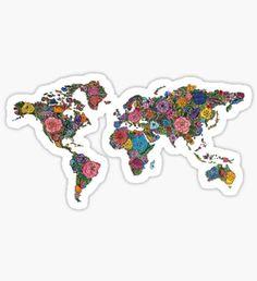 Pegatina Floral World Map