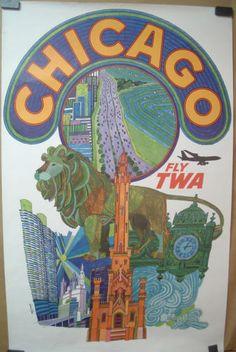 Original 60s TWA Travel Poster - Chicago - David Klien
