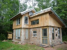 [ Tiny Home Built Years Green Building Small House Plan Ch Nordic Architectural Style House Plan ] - Best Free Home Design Idea & Inspiration Natural Building, Green Building, Building A House, Building Ideas, Tiny House Movement, House In The Woods, My House, Patio Roof Covers, Cordwood Homes