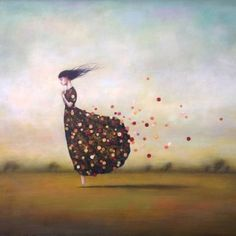 Duy Huynh painting - For The Wind, figurate painting, woman with flower dress