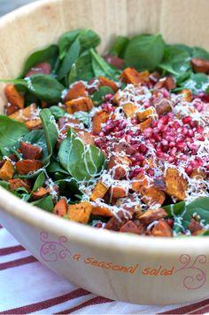 spinach salad, pomegran salad, salad recipes, potato salads, potatoes, bacon, pomegranates, christma, sweet potato