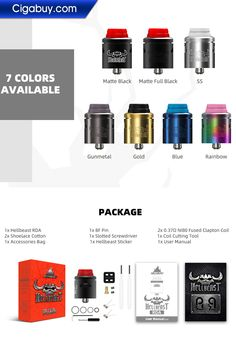 Hellvape Hellbeast RDA improves the rebuildable atomizer to a new level. The 24mm diameter makes it possible to hold ample build space for dual coil building.