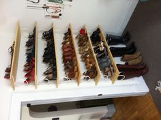 Great floating shelves to organize ALL those shoes taking up floor space.