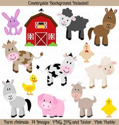 Our Farm Animals Clipart set includes 13 PNG files with transparent backgrounds, 14 JPG files with white backgrounds and 2 Adobe Illustrator vector