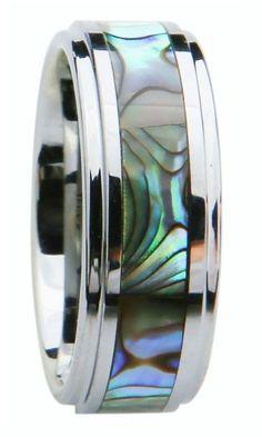 8mm Tungsten Carbide Wedding Band Ring Abalone Shell Size 8-16 Men's modern Band #Kurji #Band