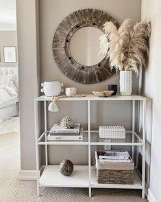 Home Decor Accessories, Decorative Accessories, Round Wood Mirror, Living Room Decor, Bedroom Decor, Master Bedroom, Bedroom 2018, Bedroom Inspo, Grass Decor