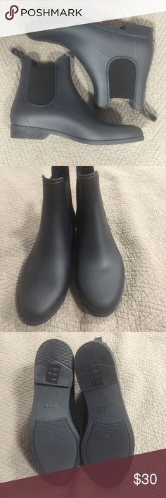 J Crew Matte Chelsea rain boots - Navy Amazing boots that I ordered a size too big! Never worn, in perfect condition! Color is navy J. Crew Shoes Winter & Rain Boots