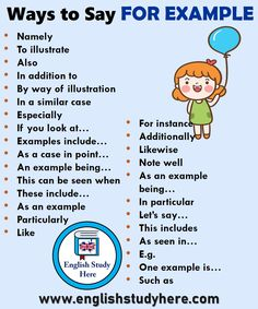 "The phrase ""for example"" is used a lot in the English language. Below, we offer a variety of alternatives to mix it up with the phrase that you can use in written papers or when discussing topics in English. English Vocabulary Words, Learn English Words, English Phrases, English Idioms, English Study, Grammar And Vocabulary, English English, English Grammar, Vocabulary Journal"