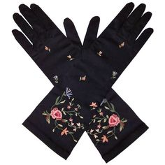 Preowned Elegant 1950's Black Satin Embroidered Evening Gloves ($95) ❤ liked on Polyvore featuring accessories, gloves, black, evening gloves, satin evening gloves, cocktail gloves and satin gloves
