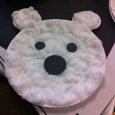 Polar Bear Paper Craft- used a paper plate with cotton balls stretched out 10 white construction paper ears with cotton black construction nose and eyes Polar Animals Preschool Crafts, Animal Crafts For Kids, Preschool Art, Toddler Crafts, Art For Kids, Preschool Winter, Winter Craft, Winter Activities, Craft Activities
