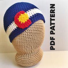 Mens Colorado Beanie Crochet Pattern- Colorado Crochet Hats Pattern for Men- Colorado Mens Beanies Pattern- Colorado Flag- Instant Download