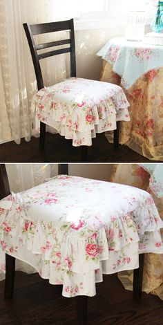 "Beautiful and elegant seat cover. Double ruffled edges add shabby chic/Victorian style to your rooms. 100% cotton. Machine washable. Size: 18"" x 18"" not including the ruffles. Tie the chair cover to your chair using the ribbons on the corners. 4 sided double ruffle edges."