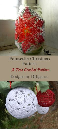 The poinsettia Jar Cozy is a free crochet pattern that is finished off by painting on it. This Christmas pattern is found on Designs by Diligence. Quick Crochet, Free Crochet, Knit Crochet, Christmas Makes, Christmas Crafts, Xmas, Christmas Ornaments, Pattern Design, Free Pattern