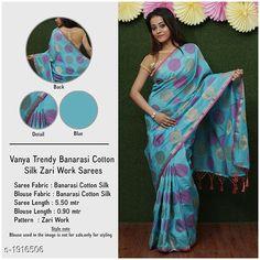 Sarees Stylish Banarasi Cotton Silk Zari Work Saree  *Fabric* Saree - Banarasi Cotton Silk.  *Size* Saree Length Without Blouse - 5.50 Mtr.  *Work* Zari Work  *Sizes Available* Free Size *   Catalog Rating: ★4 (279)  Catalog Name: Vanya Zari Woven Banarasi Cotton Silk Sarees With Tassels And Latkans CatalogID_252838 C74-SC1004 Code: 717-1916506-