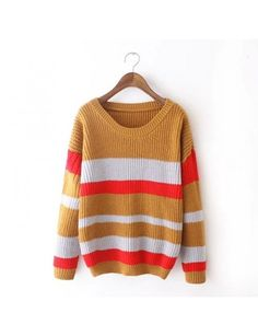 Cheapest Sweaters 2015 Stylish And Comfortable Warm All-match Striped Knit Sweater PulloverBrown