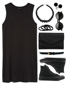 """""""organized black w sneakers TS"""" by tinkertot ❤ liked on Polyvore featuring Monki, LULUS, Converse, Warehouse, Bridge Jewelry, ZeroUV and Furla"""