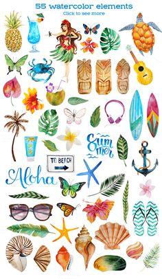 Aloha - watercolor bundle