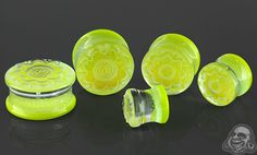 Fused dichroic Brindal Flower plugs (Green gold)