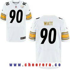 Men's 2017 NFL Draft Pittsburgh Steelers #90 T. J. Watt White Road Stitched NFL Nike Elite Jersey