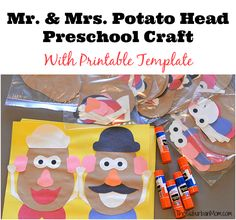 The perfect Toy Story Birthday Party activity - a Mr and Mrs Potato Head craft! Free printable parts make this project easy for preschool kids. Toy Story Party, Toy Story Theme, Toy Story Birthday, 3rd Birthday, Toy Story Food, Disney Activities, Party Activities, Toddler Activities, Airplane Activities