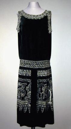 Black Velvet Chemise Dress - 1920's - Made in America