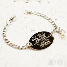 She had a lively playful disposition Jane Austen quote oval bracelet, stainless steel with swarovski crystal or pearl by BookFiend on Etsy https://www.etsy.com/listing/226939380/she-had-a-lively-playful-disposition