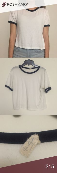 Brandy Melville White And Black Shirt John Galt by Brandy Melville white shirt with black borders on the neckline and sleeves. This has been worn and has a few signs of them, but in good condition Brandy Melville Tops Tees - Short Sleeve